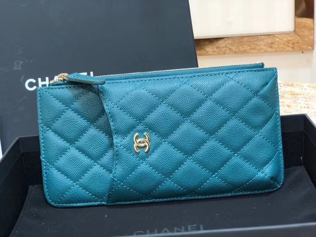 Chanel Calfskin Leather Card packet & Gold-Tone Metal A81598 blue