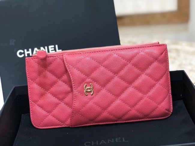 Chanel Calfskin Leather Card packet & Gold-Tone Metal A81598 pink