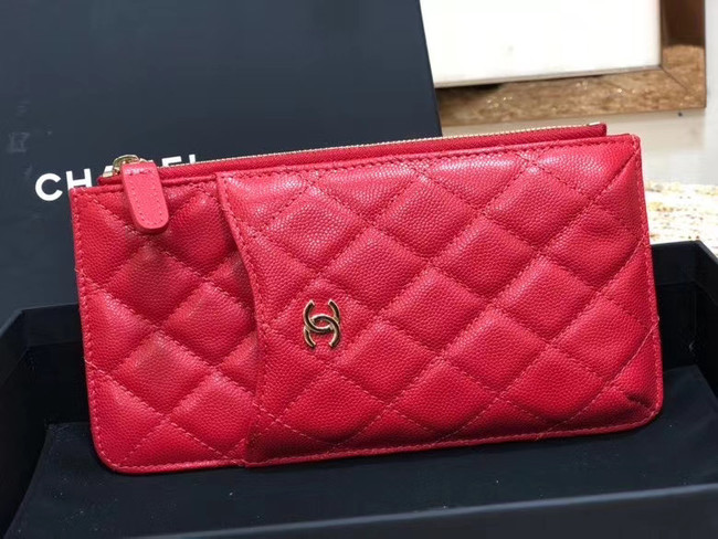 Chanel Calfskin Leather Card packet & Gold-Tone Metal A81598 red