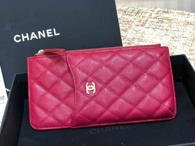 Chanel Calfskin Leather Card packet & Gold-Tone Metal A81598 rose