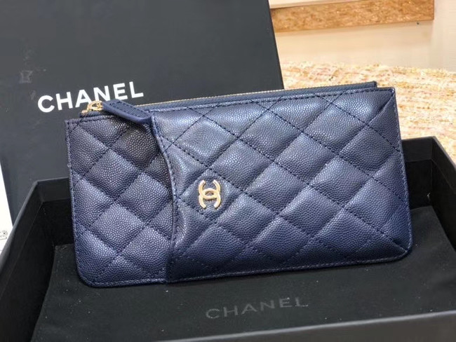 Chanel Calfskin Leather Card packet & Gold-Tone Metal A81598 royal blue