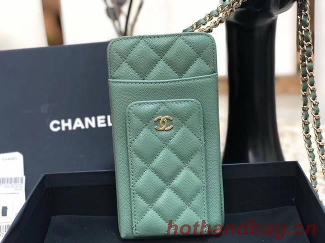 Chanel Calfskin Chain Card packet & Gold-Tone Metal AP0990 green