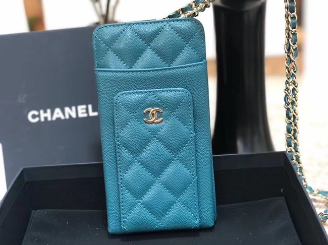 Chanel Calfskin Chain Card packet & Gold-Tone Metal AP0990 light blue