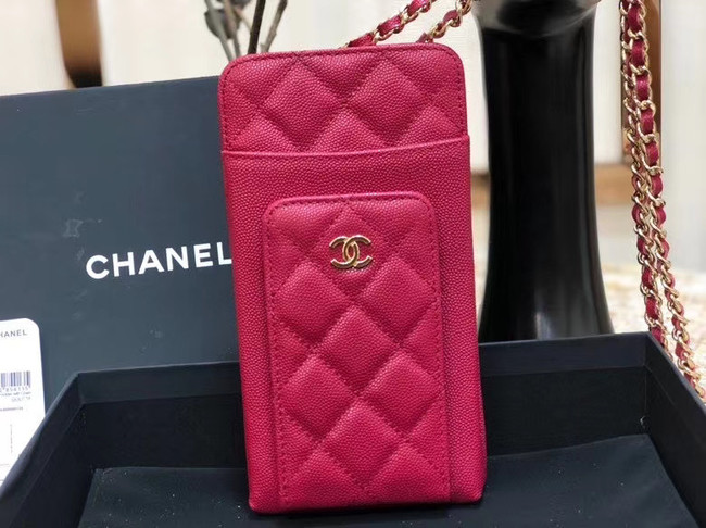 Chanel Calfskin Chain Card packet & Gold-Tone Metal AP0990 rose