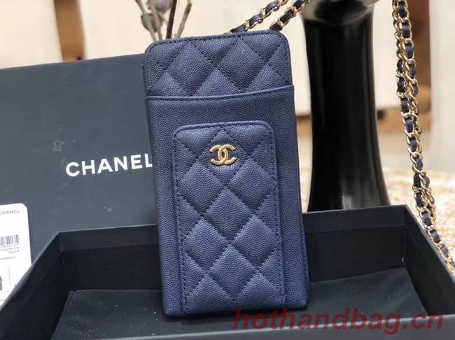 Chanel Calfskin Chain Card packet & Gold-Tone Metal AP0990 royal blue