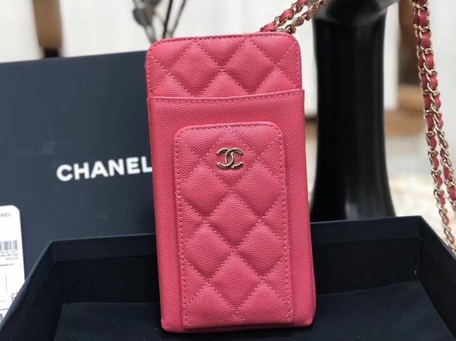 Chanel Calfskin Chain Card packet & Gold-Tone Metal AP0990 pink