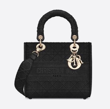 MEDIUM LADY D-LITE BAG Cannage Embroidery M0565OREY black