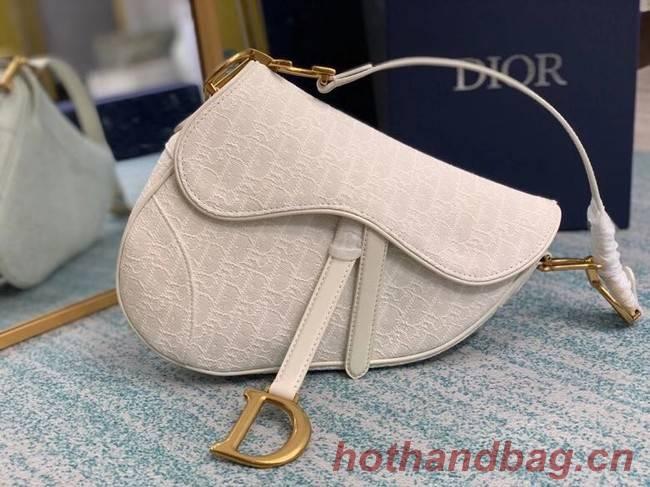 SADDLE BAG Gray Dior Oblique Embroidered Denim M0446C cream