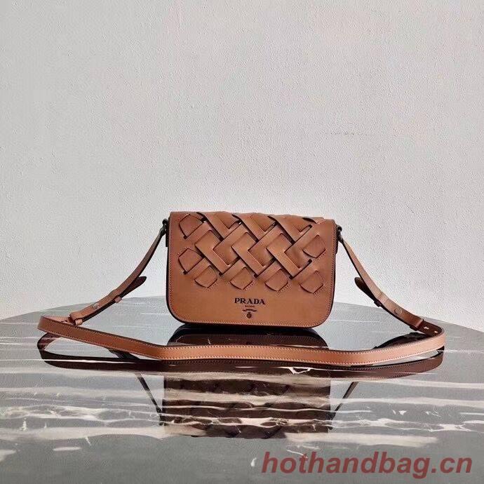 Prada Leather Prada Tress Shoulder Bag 1BD246 brown