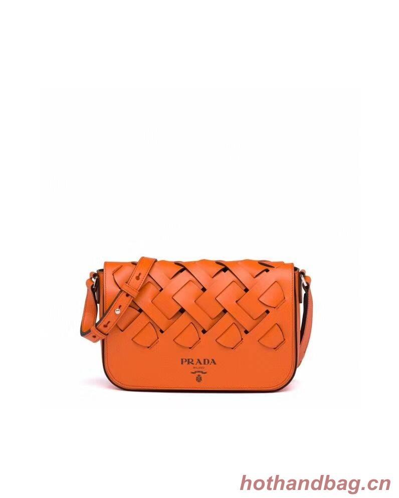 Prada Leather Prada Tress Shoulder Bag 1BD246 orange