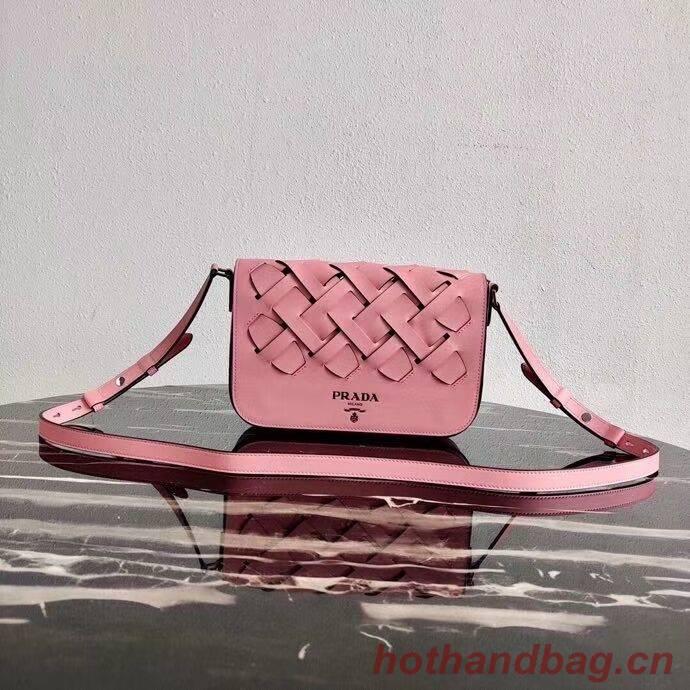 Prada Leather Prada Tress Shoulder Bag 1BD246 pink