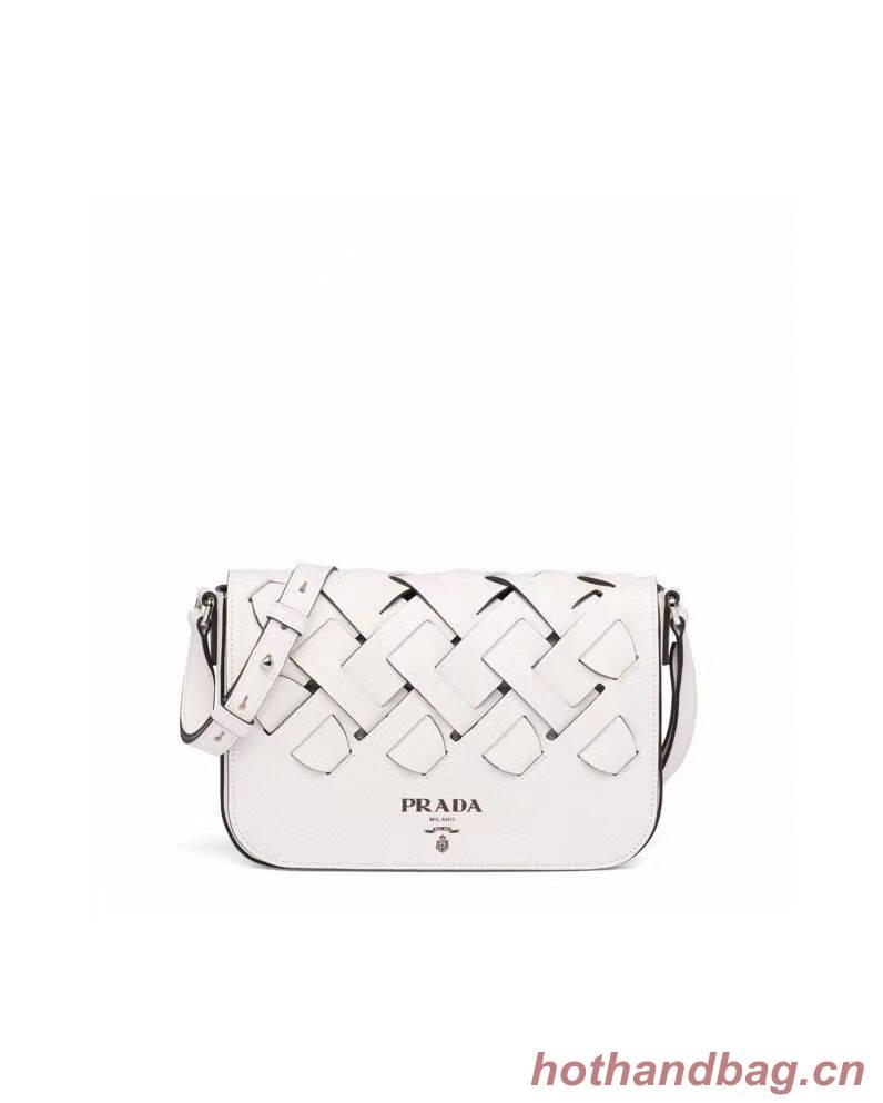 Prada Leather Prada Tress Shoulder Bag 1BD246 white