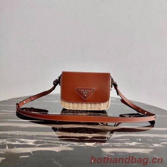 Prada Saffiano leather mini shoulder bag 2BD043 brown