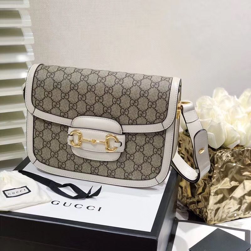Gucci Horsebit 1955 GG Supreme Bag 602204 White