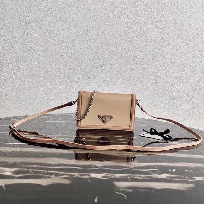 Prada Saffiano leather shoulder bag 2BP019 Biscuits