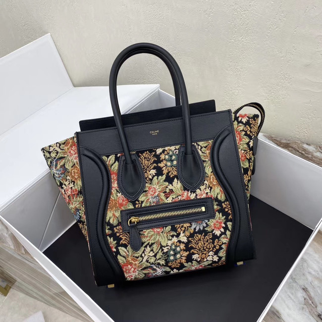 CELINE MICRO LUGGAGE BAG IN FLORAL JACQUARD AND CALFSKIN 167793 BLACK