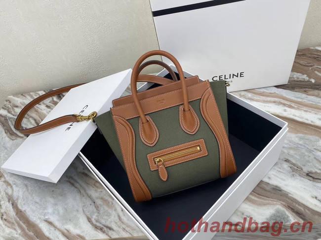 CELINE NANO LUGGAGE BAG IN FLORAL JACQUARD AND CALFSKIN 189242 TAN&Khaki
