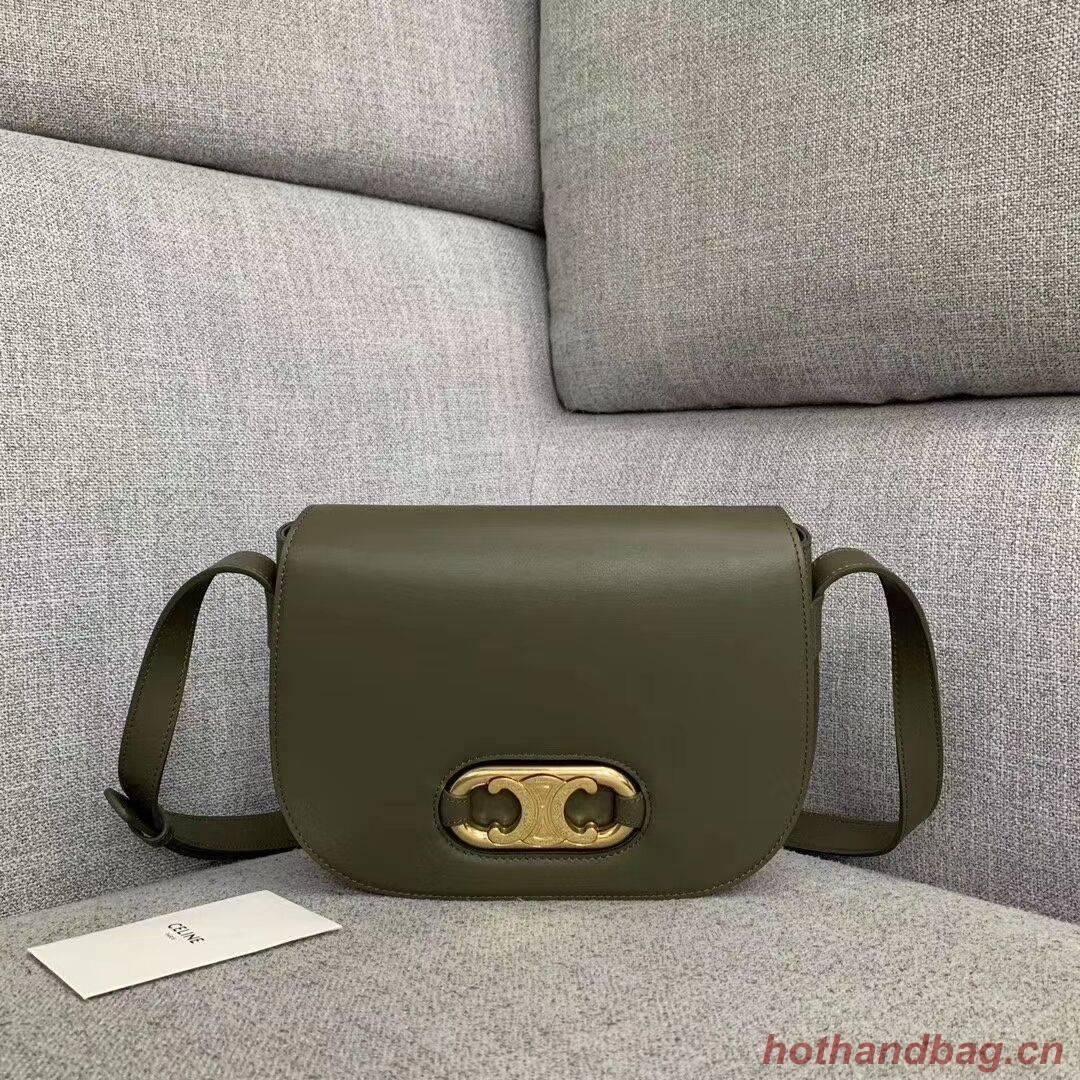 CELINE Original Leather Bag CL93123 brown blackish green