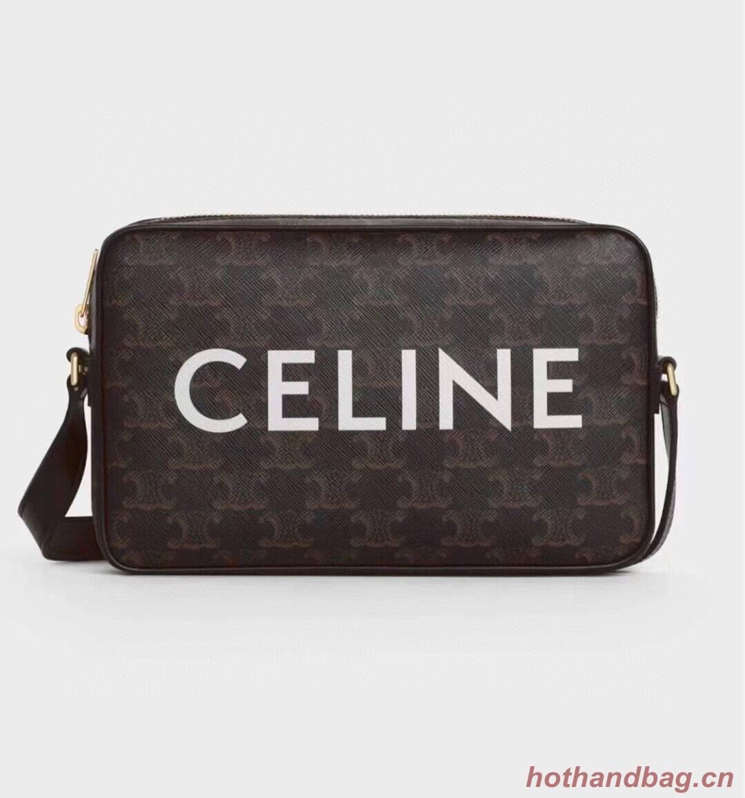 Celine MINI FOLCO BAG IN TRIOMPHE CANVAS CL9450 black