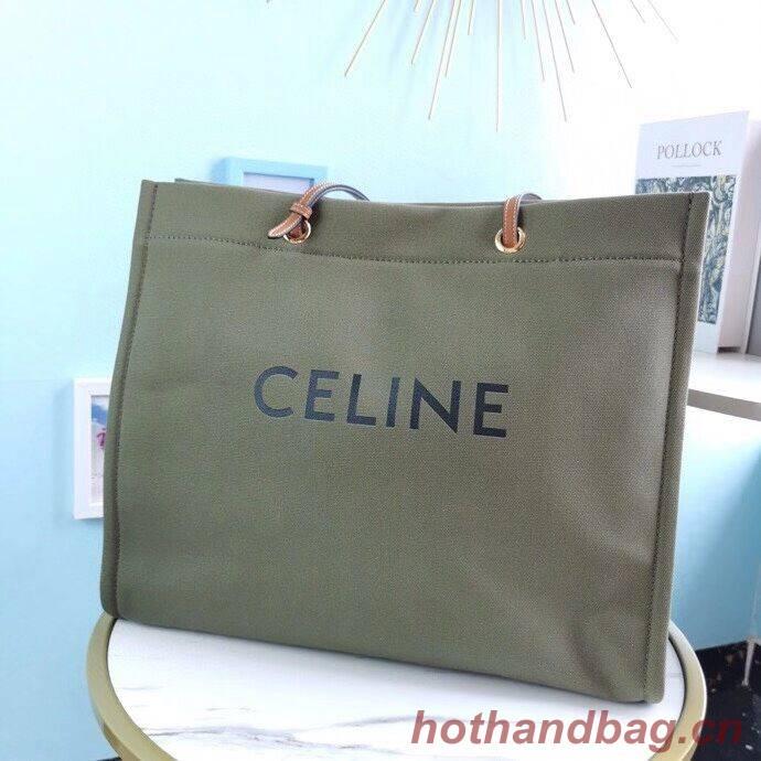 Celine Original Leather shopping Bag CL92172 blackish green
