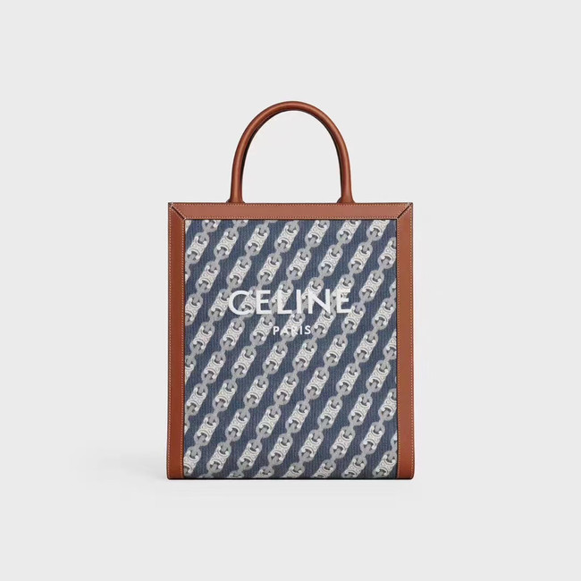 Celine TEEN TRIOMPHE BAG IN TRIOMPHE CANVAS AND CALFSKIN 192082 BLUE