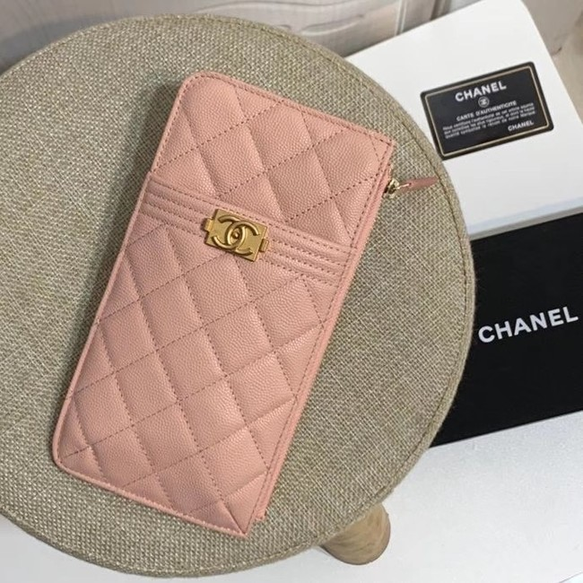 BOY CHANEL Calfskin Leather Card packet AP1482 pink
