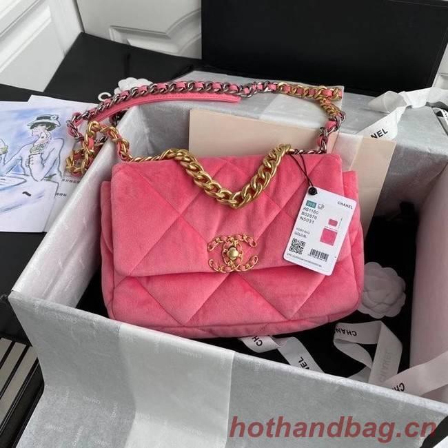 Chanel 19 flap bag velvet AS1160 pink