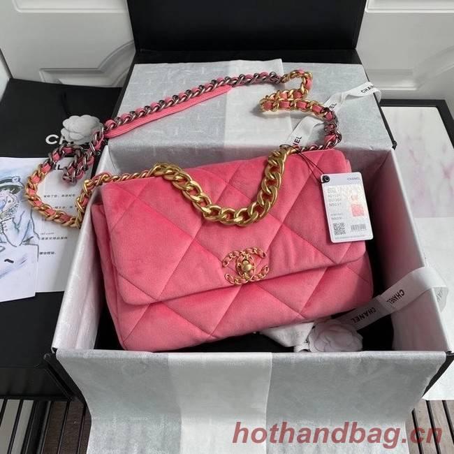Chanel 19 flap bag velvet AS1161 pink