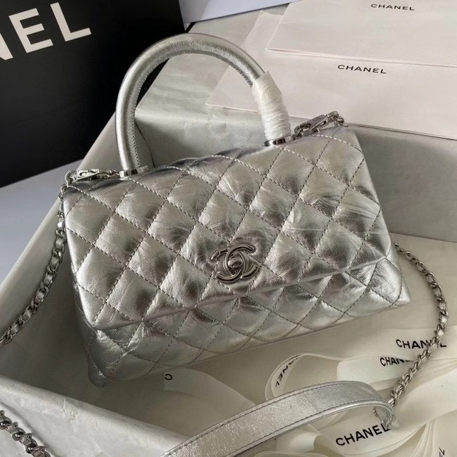 Chanel Small Flap Bag with Top Handle 92990 silver