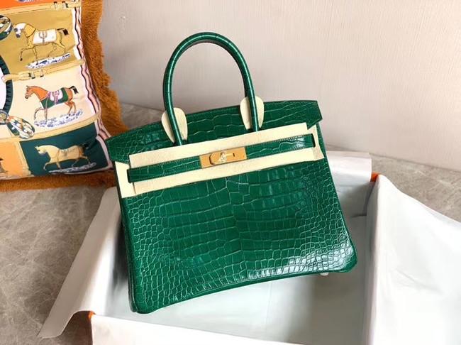 Hermes Birkin Bag Original Leather crocodile HBK35 green