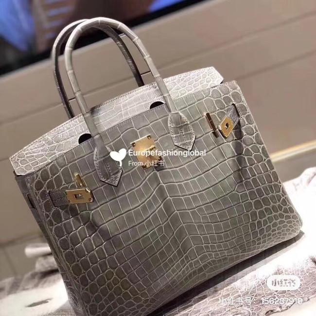 Hermes Birkin Bag Original Leather crocodile HBK35 grey