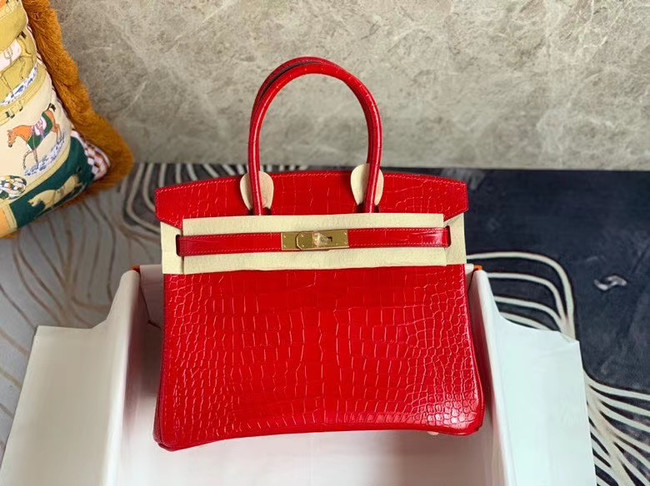 Hermes Birkin Bag Original Leather crocodile HBK35 red