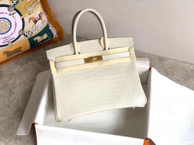 Hermes Birkin Bag Original Leather crocodile HBK35 white