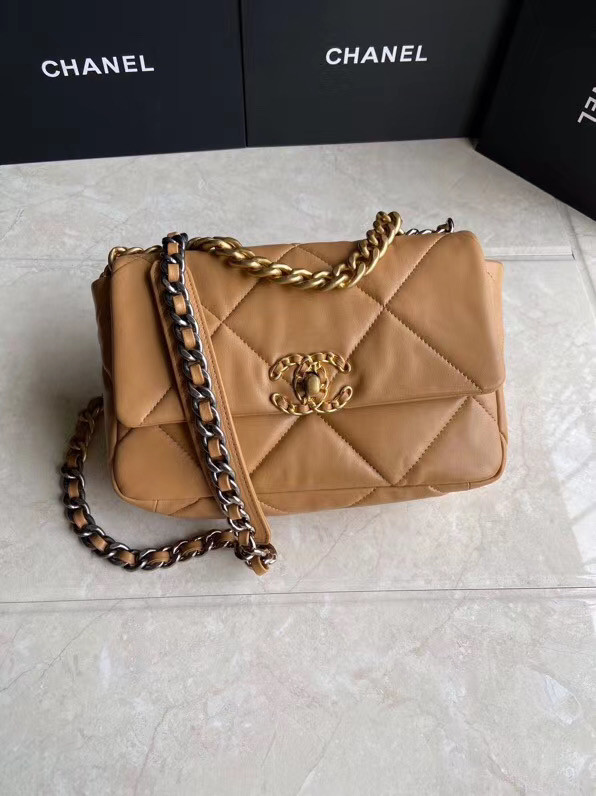 Chanel 19 flap bag AS1160 brown