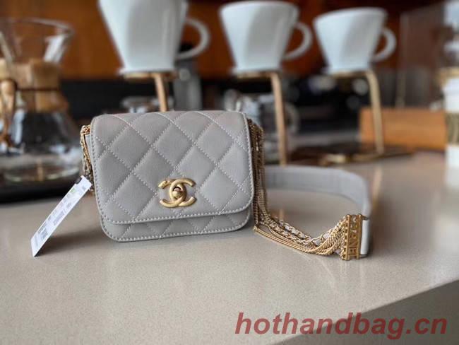 Chanel small flap bag Lambskin & Gold-Tone Metal AS2051 grey