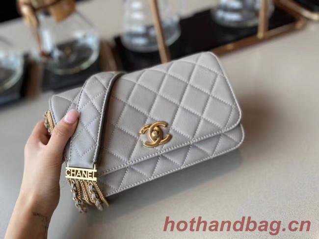 Chanel small flap bag Lambskin & Gold-Tone Metal AS2052 grey