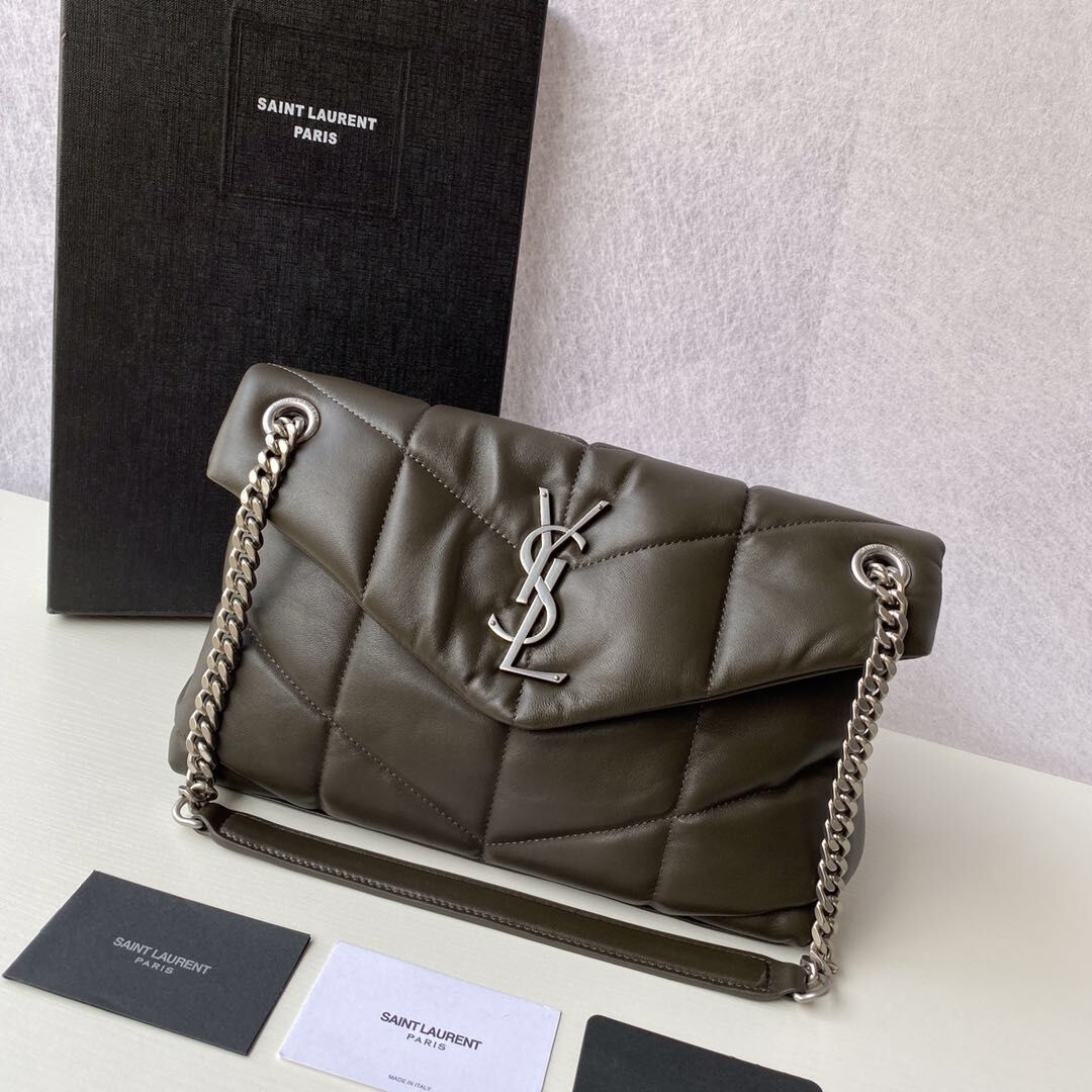 Yves Saint Laurent LOULOU PUFFER SMALL BAG IN QUILTED LAMBSKIN 5774761 ANEMONE GREEN