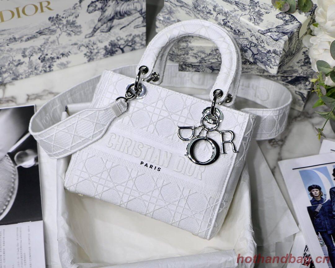 DIOR MEDIUM LADY D-LITE BAG Denim White Cannage Embroidery M0565OREY