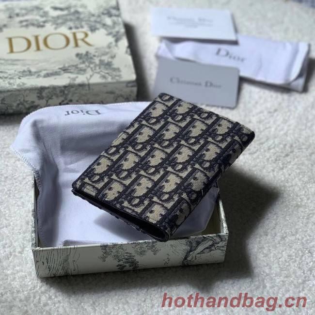 30 MONTAIGNE PASSPORT HOLDER Blue Dior Oblique Jacquard S2095