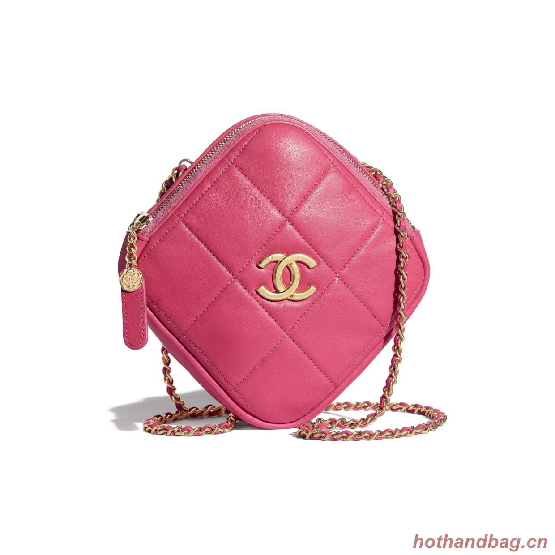 Chanel small diamond bag Grained Calfskin & Gold-Tone Metal AS2201 Pink