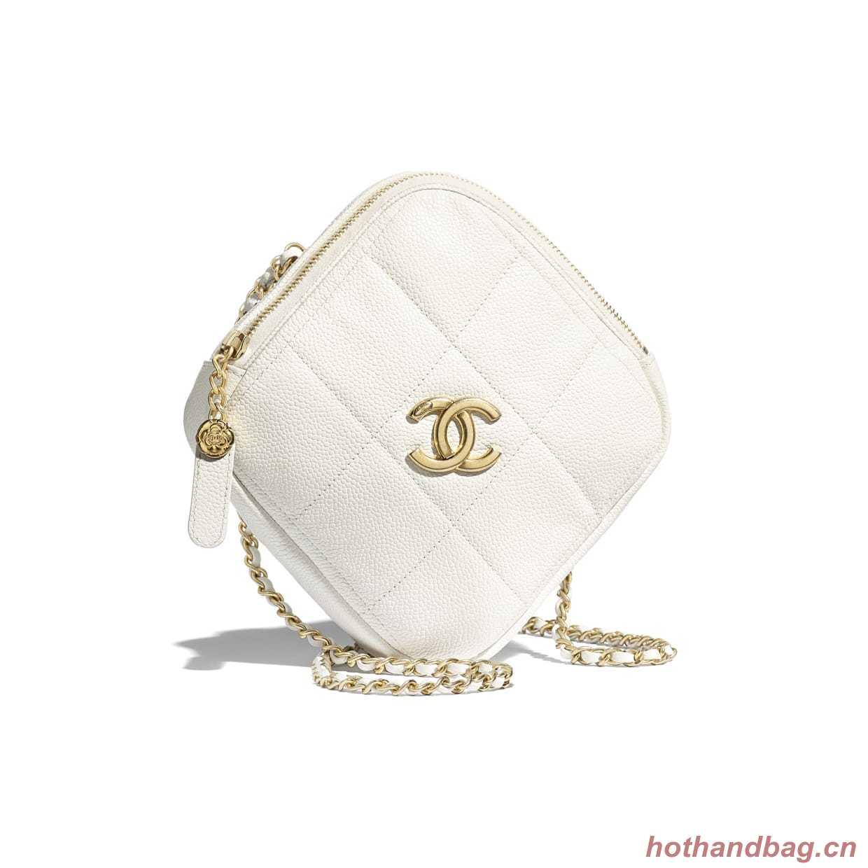 Chanel small diamond bag Grained Calfskin & Gold-Tone Metal AS2201 White