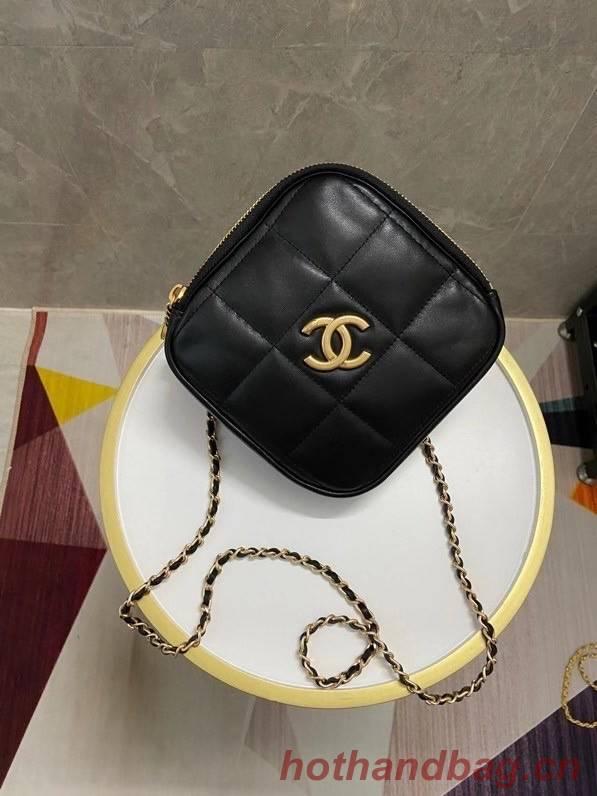 Chanel small diamond bag Grained Calfskin & Gold-Tone Metal AS2201 black