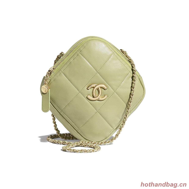 Chanel small diamond bag Grained Calfskin & Gold-Tone Metal AS2201 green