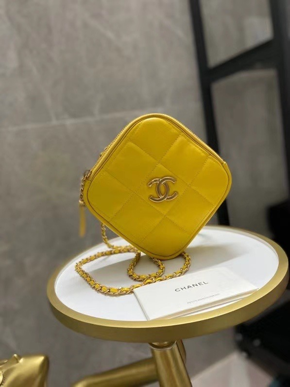 Chanel small diamond bag Grained Calfskin & Gold-Tone Metal AS2201 yellow