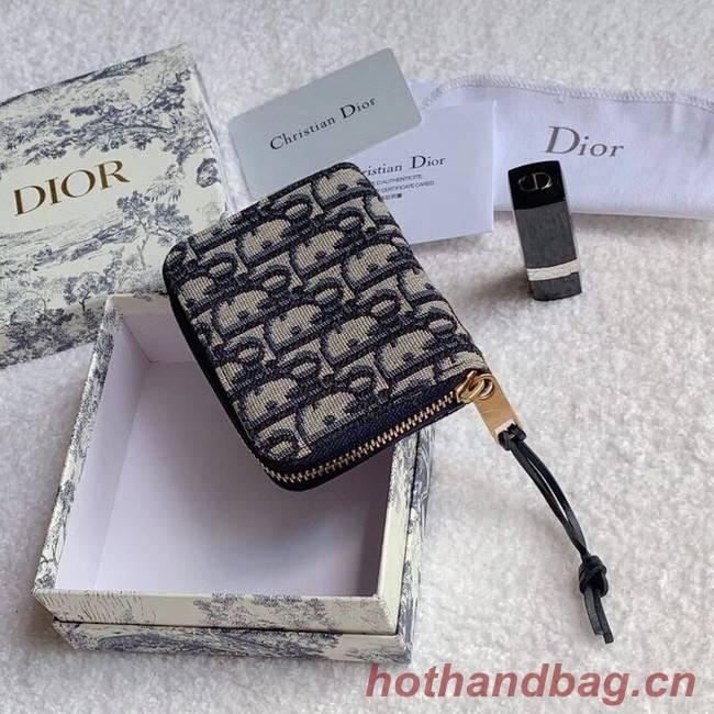 Dior 30 MONTAIGNE CARD HOLDER Blue Dior Oblique Jacquard S5538
