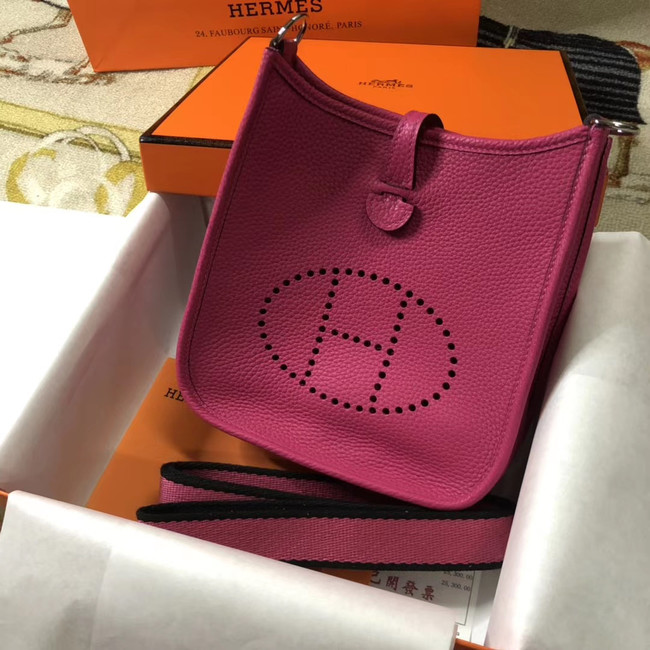 Hermes Evelyne mini 17cm Original Calf Leather Messenger Bag H1187 rose