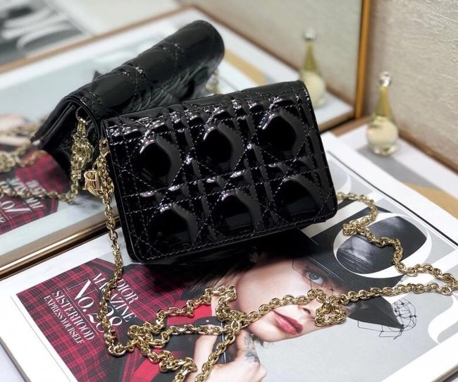 LADY DIOR 5-GUSSET CARD HOLDER WITH CHAIN Patent Cannage Calfskin S0859 black
