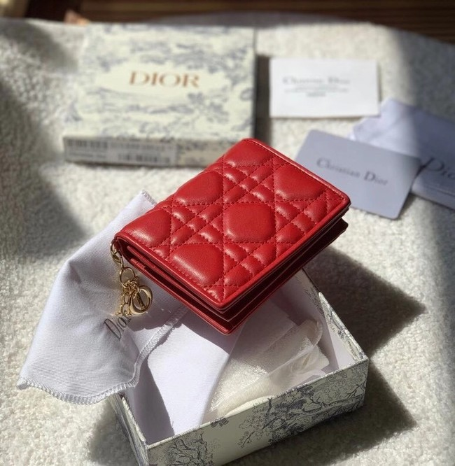 MINI LADY DIOR WALLET Cannage Lambskin S0178 red
