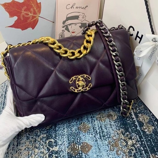 Chanel 19 flap bag AS1161 deep purple