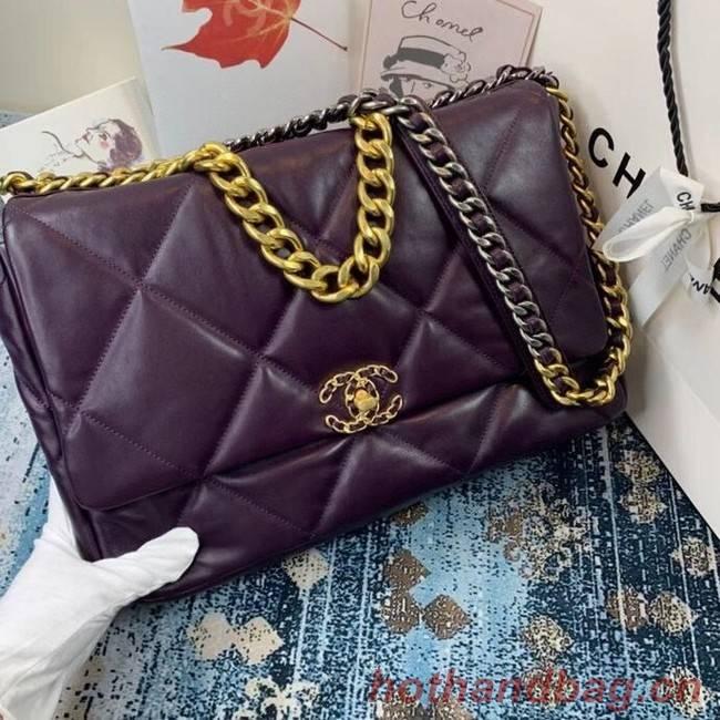 Chanel 19 flap bag AS1162 deep purple